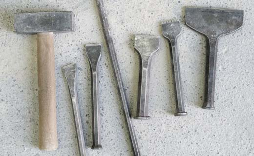 A selection of tools we use for our stonework.